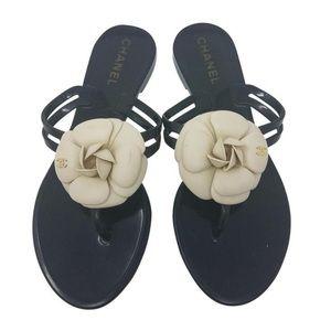 Chanel Black Cream Jelly Camellia Slide Sandals
